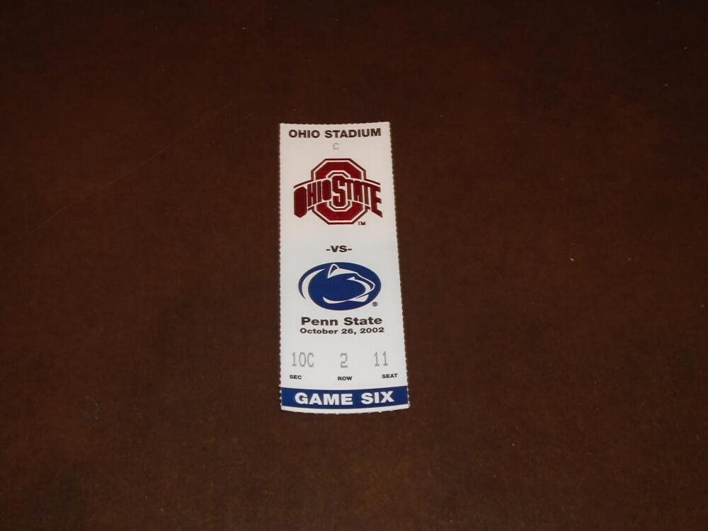 2002 PENN Super special price At the price STATE AT OHIO TICKET STUB FOOTBALL