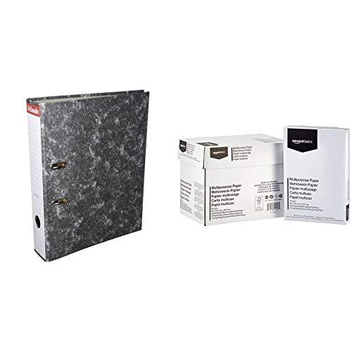 Esselte 46957 - Archivador de palanca de cartón con lomo de 75 mm, color Gris + AmazonBasics Papel multiusos para impresora A4 80gsm, 5x500 hojas, blanco