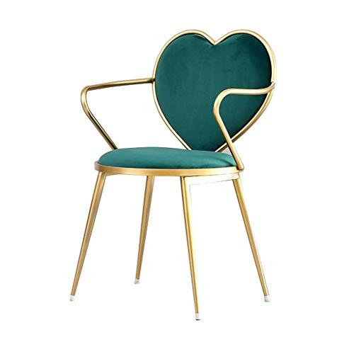 Jieer-C Ergonomische stoel voor comfortabele stoel, woonkamer, slaapkamer, woonkamer, stoelen, café, elegant design, poten van metaal, fluweel in hartvorm, voor stoelen, 46 × 41 × 85 cm Groen