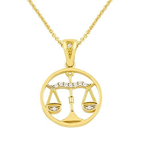aion-Sternzeichen Gold 585 - Anhänger mit Kette-Damen Gelbgold 14kt Goldanhänger Tierkreiszeichen (Waage)
