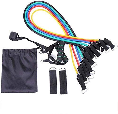 FANLIU Bandas de ejercicios multifuncional resistencia combinada dispositivo 11 piezas traje de látex aptitud cuerda elástico de la correa Un tamaño for Home Gym Equipment (Color: Negro y mango verde,
