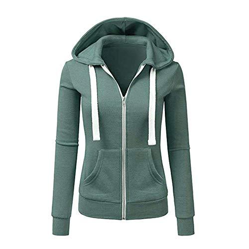 Newbestyle Jacke Damen Sweatjacke Hoodie Sweatshirtjacke Pullover Oberteile Kapuzenpullover (Reingrün, L)