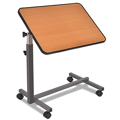 LHONE Over Bed Food Tray Small Rolling Computer Table with Wheels Adjustable Table Bedside Table Hospital Food Tray Rolling Laptop Desk (Beige)