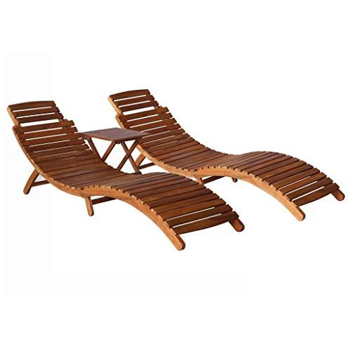 vidaXL Madera Maciza de Acacia Set de Tumbonas 2 Unidades con Mesita Hamacas Chaise Lounge Sillón Reclinable Cama Salón Mesa de Té Muebles Exterior