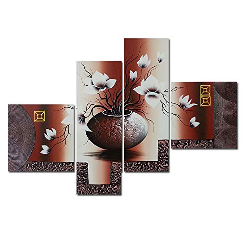 Wieco Art - Elegant Flowers Modern Stretched and Framed Artwork 4 Piece 100% Hand Painted Floral Oil Paintings on Canvas Wall Art Ready to Hang for Living Room Bedroom Home Decorations