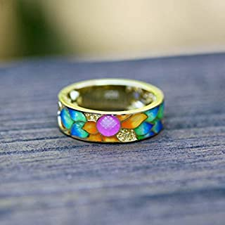 Cloisonné Rainbow Sunflower Enamel Band Gold Over 925 Sterling Silver