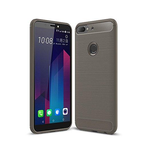 König Design Handy-Hülle kompatibel mit HTC Desire 12 Plus Silikon Case Hülle Sturzsichere Back-Cover Handyhülle - Carbon - Grau