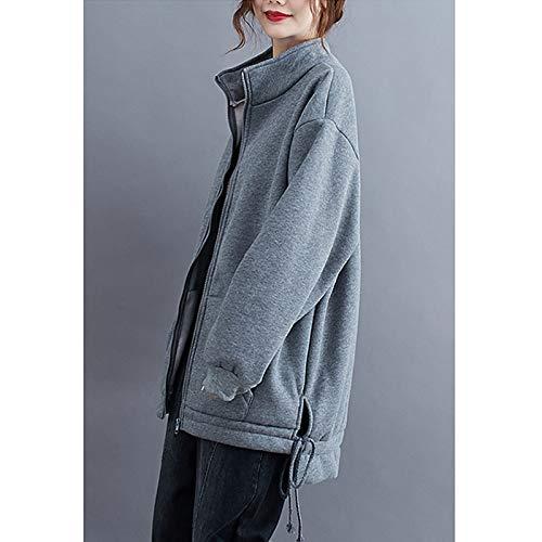 『Semo1mus レディース ジャケット 冬 コート カジュアル 防寒 ゆったり 厚手ファッション 体型カバー おしゃれ グレー』の5枚目の画像