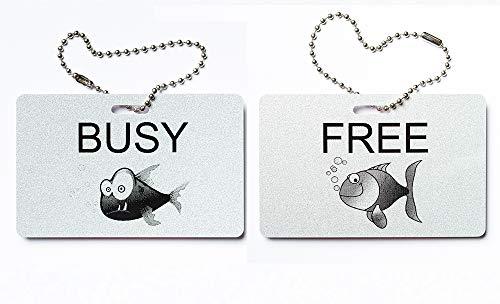 KaiserstuhlCard Türschild Free Busy englisch Besetzt Frei Schild Anhänger Wendeschild Fisch Fish Symbole