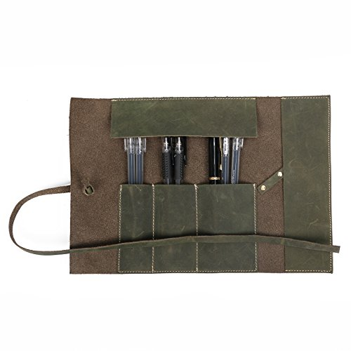 Pencil Case Handmade Genuine Leather Stationery Pencil Roll Pouch/Pen Case Holder Organizer Soft Wrap Bag with Strap Gift for Writer,Students and Artist (Bronze)