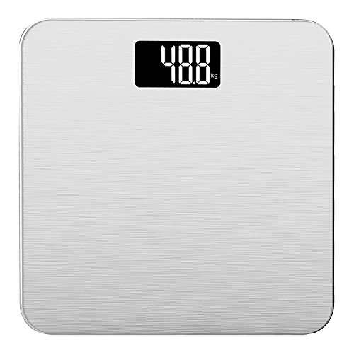 Smart Weigh - Bilancia pesapersone elettronica fino a 180kg, in vetro temperato con tecnologia avanzata Step-on (color argento)