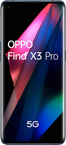 "OPPO Find X3 Pro 5G - Pantalla 6,7"" (AMOLED 120 Hz, 12GB + 256GB, Snapdragon 888, Batería 4500 mAh, Cuádruple cámara 50MP + 50MP + 13MP + 3MP, carga rápida 65W) Azul [Versión ES/PT]"