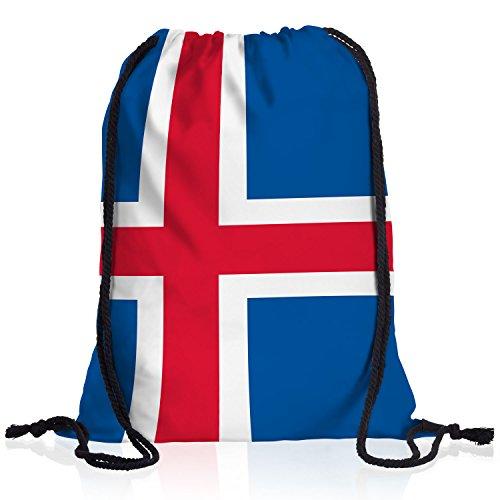 style3 Island Turnbeutel Rucksack Tasche Iceland Flagge WM EM Sport Beutel Festival Fahne Uni Schule Bunt
