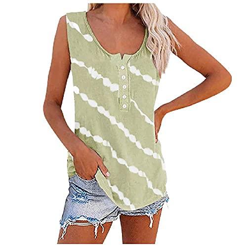 Camiseta sin mangas con cuello redondo para mujer, camiseta de verano, informal, con botones, a rayas, para mujer