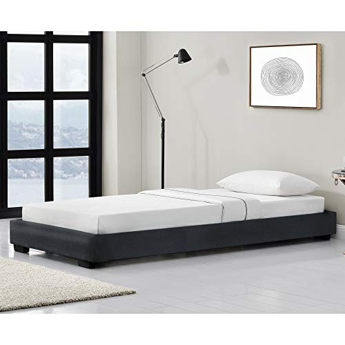 Corium Cama Individual Tapizado en Piel sintética 90 x 200 cm Somier Moderno con Listones para Cama Negro