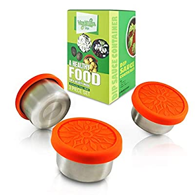 Vivykitchen Dipping Sauce Containers Set – 3 x 3.4oz Stainless Steel Snack Containers with Food-grade Silicone Lids – Leak-proof and Reusable – Also Suitable for Baby, Toddler, Kid food