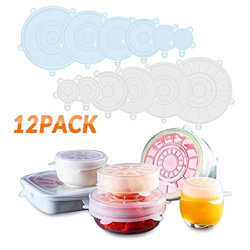Tapas de Silicona Elásticas DYROE ,12 Tapas silicona ajustables cocina,Sin BPA,Reutilizable Fundas para Alimentos Tapa Tazas, Boles o Tarros, uso en Lavavajillas, Microondas, Horno o Refrigerador