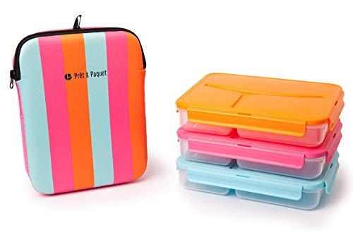 Scatola Porta Pranzo Lunchbox Termico - PRET a paquet Porta Pranzo suddiviso in 3 scompartimenti, con Fodera Isolante, lunbox Bambini, 1L - Pacco 3