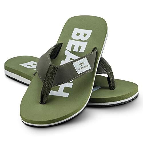 Ultrapower Flip-On Zehentrenner | Flip Flops | Badelatschen | Strandschuhe | Duschlatschen | Zehenstegpantolette | Bad | Sauna Schuhe | Sandalen | Khaki/Silber | Gr.41