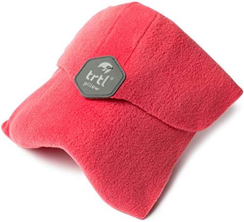 Trtl Pillow – Wissenschaftlich belegt super weiches Nacken unterstützendes Reisekissen - Waschmaschinenfest (Korallenrot, Erwachsener)