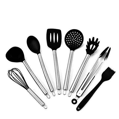 DJY-JY Spatula Cooking Utensils Set Stainless Steel Silicone Kitchen Utensils Set Cooking Utensils Cooking Shovel Spoon Kitchen Utensils 8pcs Cooking Turners (Color : Silver, Size : One Size)