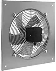 PrimeMatik - Wandventilator 200 mm voor industriële ventilatie 2550 tpm vierkant 310 x 310 x 48 mm zilver