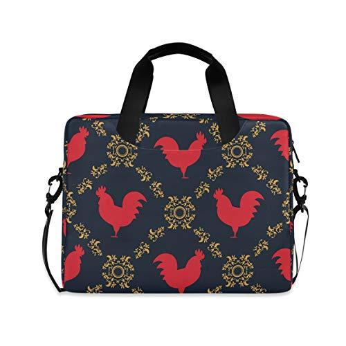 iRoad 15,6 Zoll Laptop Tasche Case Vintage Blume Hahn Computer Hülle Laptop Sleeve Case mit Schultergurt Tasche für Damen Herren