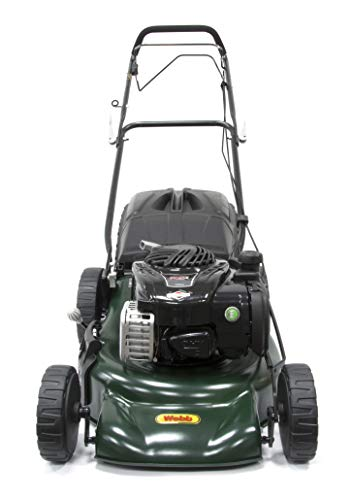 Webb Supreme WER18HW Self Propelled High Wheel Petrol Rotary Lawnmower with 7 Cutting Heights, 46cm Cutting Width and 60L Collection Bag - 2 Year Guarantee