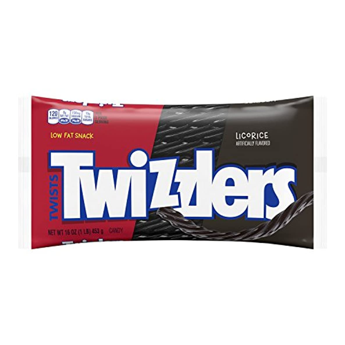 TWIZZLERS Licorice Candy, Black Licorice, 16 Ounce (Pack of 12)