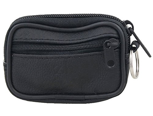 uxcell Black Faux Leather 2-Pocket Zippered Coin Keys Bag Purse