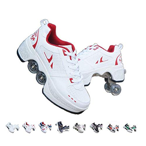 Rollschuhe Damen,2 In 1 Inline Skates Kinder,Schuhe Mit Rollen Skateboardschuhe,Verstellbare Quad Skate Rollerskates Skating Sneakers Geschenke Für Kinder,Rot-36