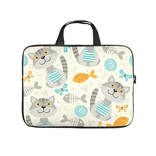 Cartoon Fish Cats Double Sided Printed Laptop Bag Protective Case Durable Neoprene Laptop Sleeve Bag Cute Laptop Sleeve Case for Girls Boys