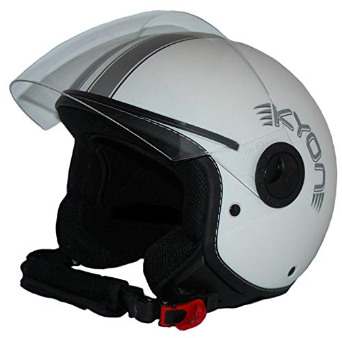 Protectwear Casque ouvert avec visière H730-WS-L Hommes, Blanc Mat avec Rayures argentées, L