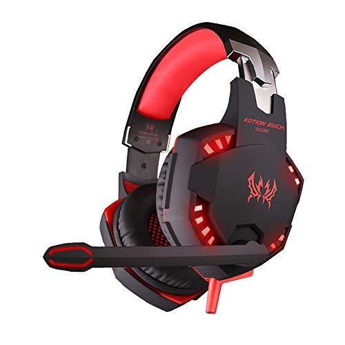YHLZ Gaming Headset, Auricular for Juegos de PS4 estéreo del oído del LED Cinta de Cabeza Atado con Alambre Auriculares con micrófono for Over Juegos Ordenador PC portátil con cancelación de Ruido