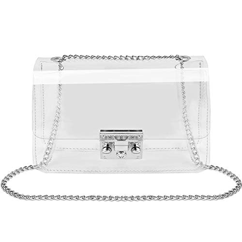 Clear Crossbody Purse Bag, Shoulder Handbag pouch NFL Stadium/Concert Venues Approved Clear Bag for Women(SV)