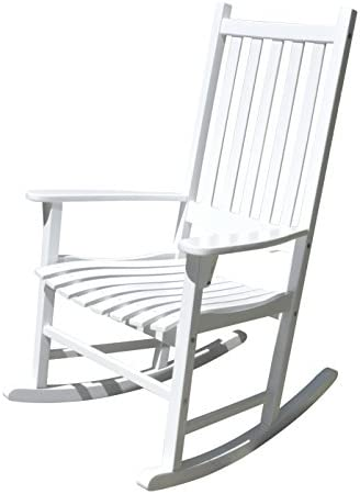 Best Merry Garden - White Porch Rocker/Rocking Chair Acacia Wood