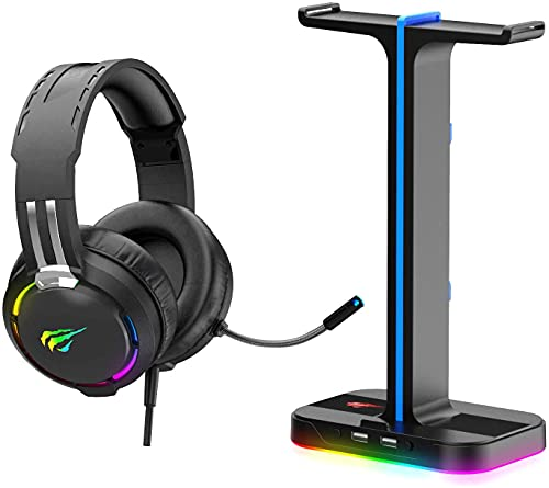 Havit RGB Gaming Headset and Headphone Stand 2 in 1 Set, Desk Dual Headset Hanger Base with Phone Holder & 2 USB Port, Gaming Headphone with Mic for Desktop PC Game PS4 PS5 Xbox