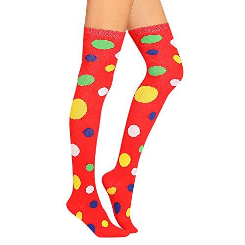 TIFIY Damen Kniestrümpfe | Strümpfe Stricken | Baumwolle Farbige PunkteKnie strümpfe | Oberschenke Socken l Damen strumpf (rot)
