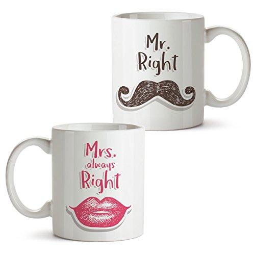 Partycards Tassen als Geschenkidee mit verschiedenen Motiven - Kaffebecher (Mr. Right und Mrs....