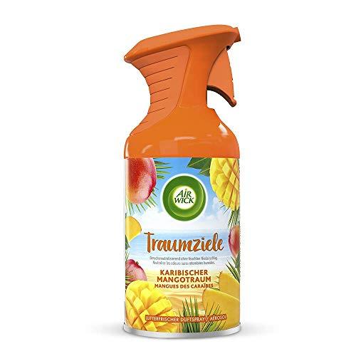 Air Wick Traumziele Karibischer Mangotraum – Fruchtig-süßes Duftspray ohne feuchten Niederschlag – Duft: Mango – 6 x 250 ml