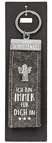 Depesche 10890.007 Schlüsselanhänger aus Filz, mit Schutzengel und Aufschrift, Ich Bin Immer für Dich da, grau, ca. 15 cm