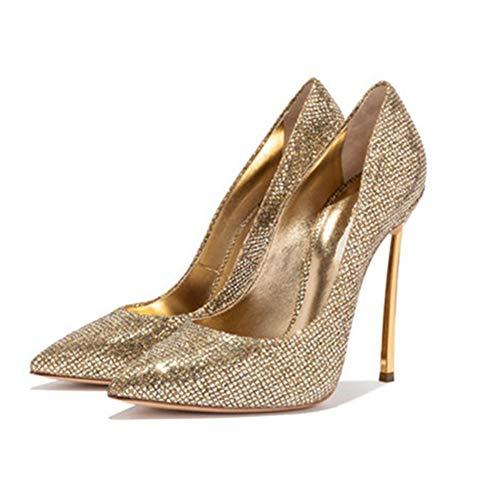 DEAR-JY Zapatos de Tacón para Mujer,12CM Dorado Brillante Elegante Sexy Punta Puntiaguda...