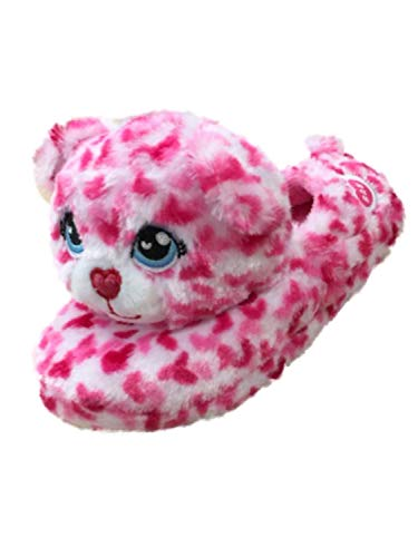 Build A Bear Girls Pink Leopard Print Kitty Cat Slippers Cheetah House Shoes S