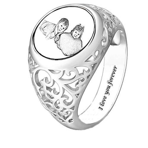 Versión de anillo de foto personalizada Anillo de texto grabado Anillo de imagen de dibujo Anillo de plata de ley 925 para madre(Plata 15.75)