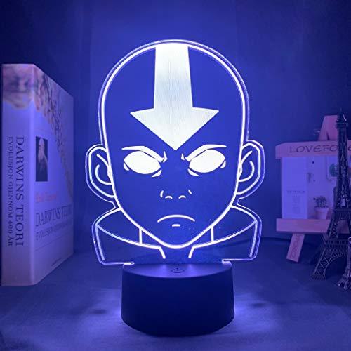 Acrílico LED Luz Noche Avatar El Último Airbender para Niños Dormitorio Niño Decoración Luz Noche La Leyenda de Aang Figura Escritorio Lámpara 3D
