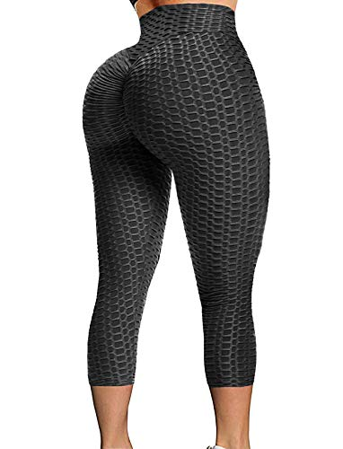 SEASUM Women High Waisted Yoga Pants Workout Butt Lifting Scrunch Booty Leggings Tummy Control Anti Cellulite Textured Tights XL