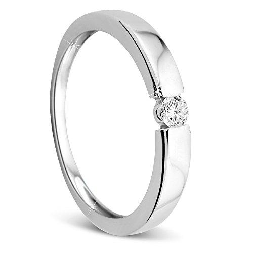 Orovi Damen Verlobungsring Gold Solitärring Diamantring 9 Karat (375) Brillianten 0.10crt Weißgold Ring mit Diamanten Ring Handgemacht in Italien