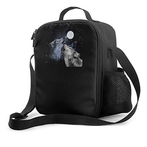 Lawenp Bolsa de almuerzo con aislamiento de dos lobos y luna, bolsa de almuerzo plana a prueba de fugas con correa para el hombro para hombres y mujeres, adecuada para el trabajo y la oficina