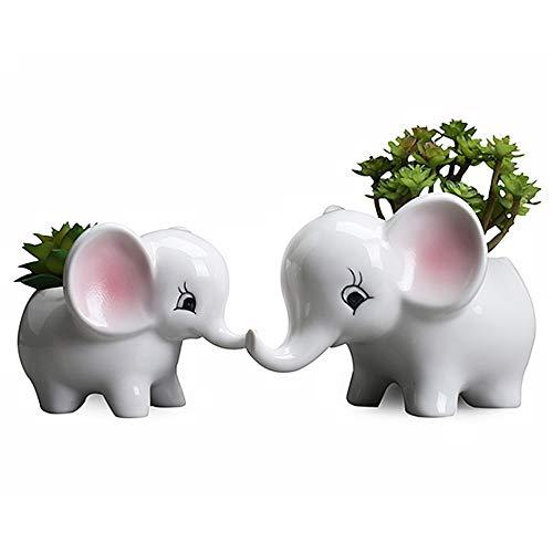 BigNoseDeer Plant Pots Elephant Succulent Vase Flowerpot Ceramic Bonsai Pots Home Decoration Planter Pots,Desk Mini Ornament 2 pcs