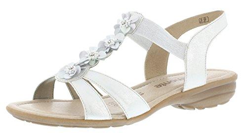 Remonte R3633 Damen Sandale, Sandalette, Sommerschuh, elastische Riemen Silber/Platin (ice/90), EU 38